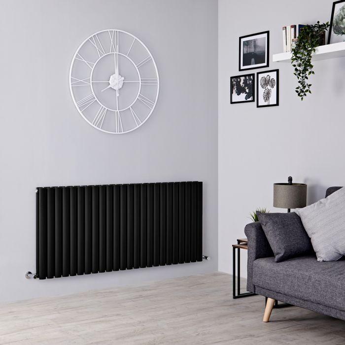 Milano Aruba - Black Horizontal Designer Radiator - 635mm x 1416mm (Double Panel)