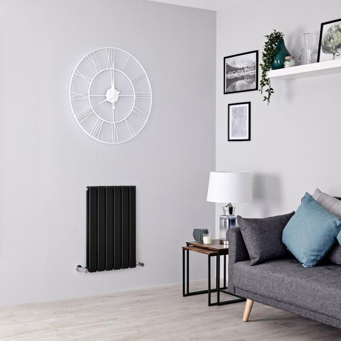 Milano Alpha - Black Flat Panel Horizontal Designer Radiator - 635mm x 420mm (Double Panel)