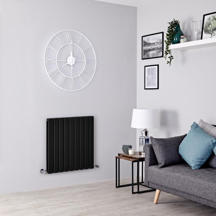 Milano Alpha - Black Flat Panel Horizontal Designer Radiator - 635mm x 630mm (Double Panel)