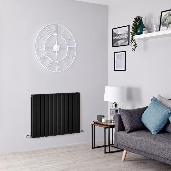 Milano Alpha - Black Flat Panel Horizontal Designer Radiator - 635mm x 840mm (Double Panel)