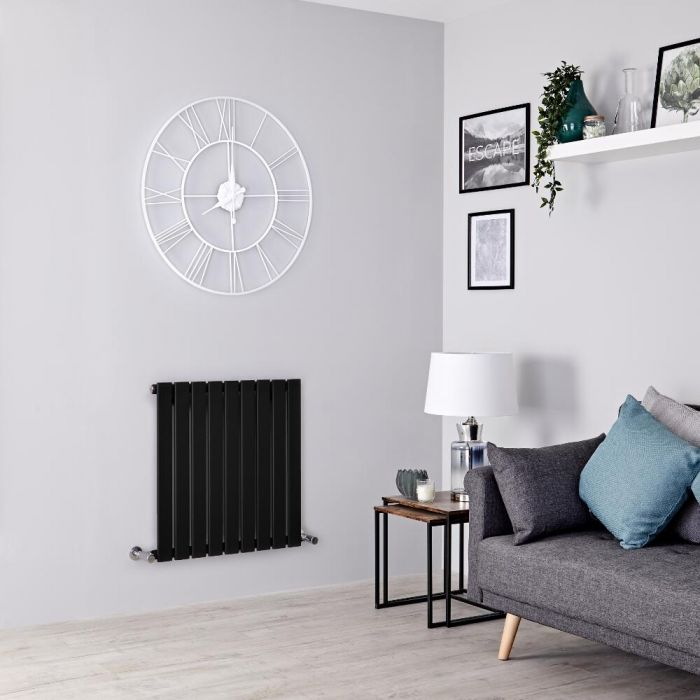 Milano Alpha - Black Flat Panel Horizontal Designer Radiator - 635mm x 630mm
