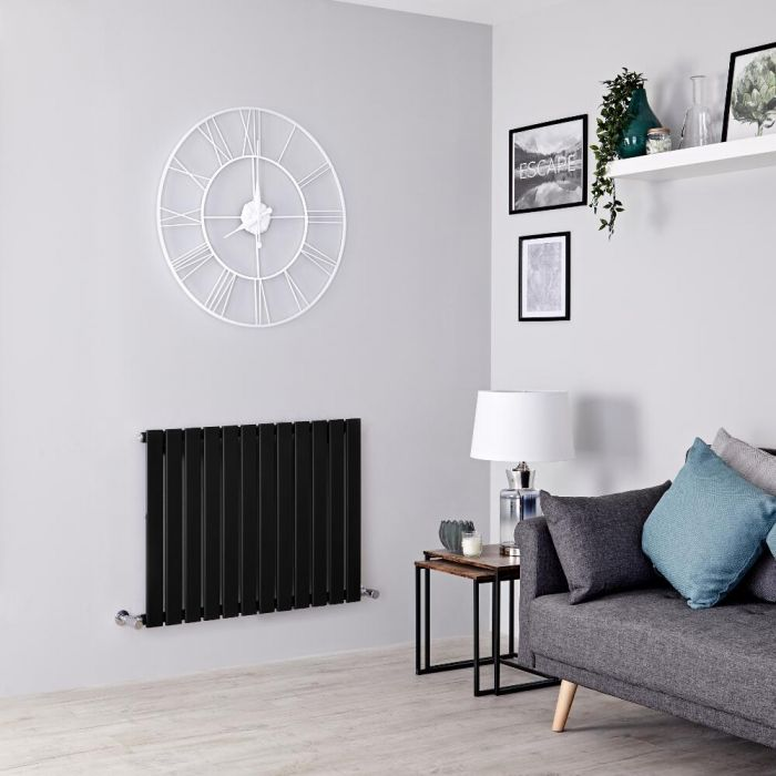 Milano Alpha - Black Flat Panel Horizontal Designer Radiator - 635mm x 840mm