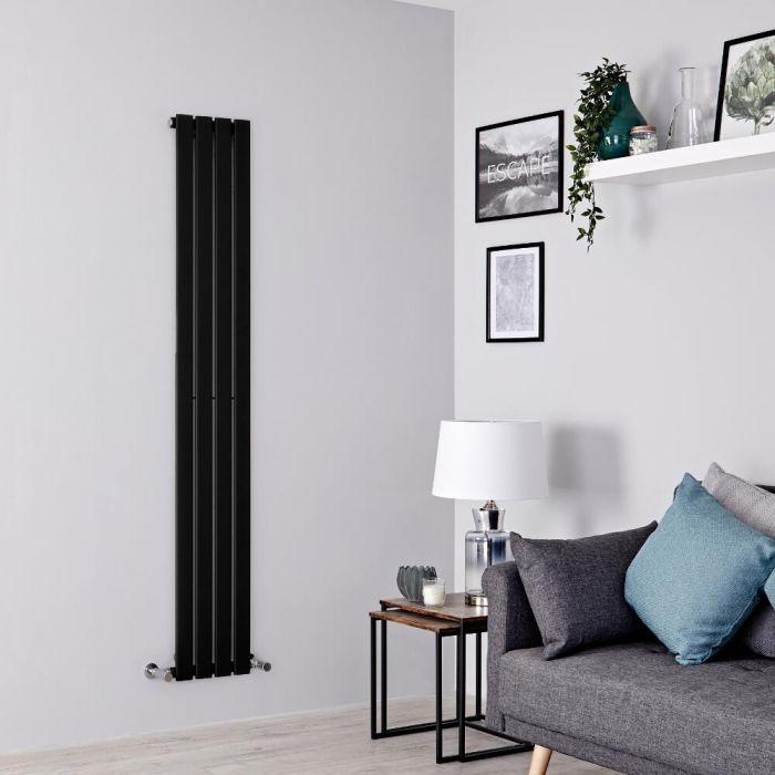 Milano Alpha - Black Flat Panel Vertical Designer Radiator - 1600mm x 280mm