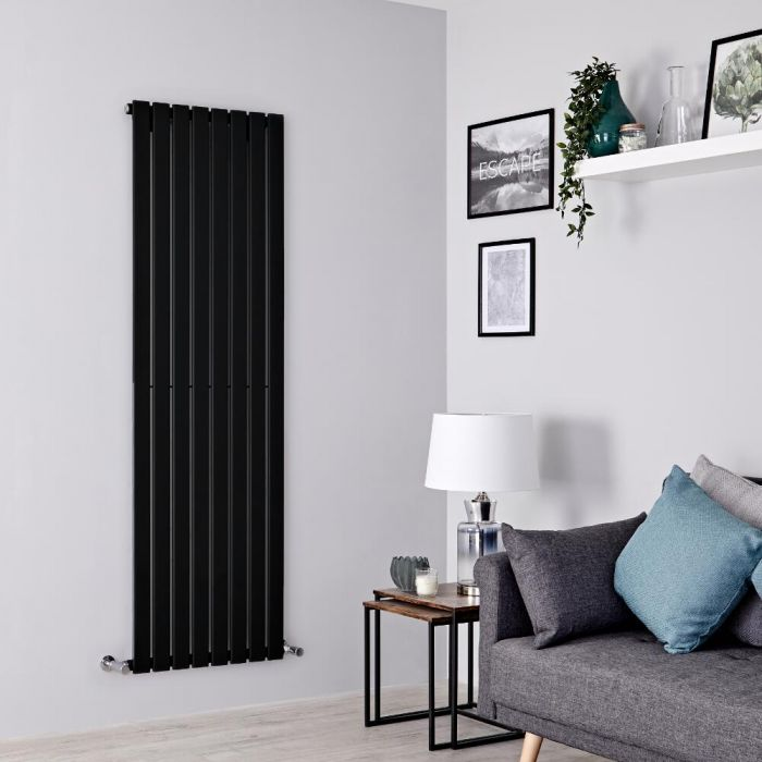 Milano Alpha - Black Flat Panel Vertical Designer Radiator - 1600mm x 560mm