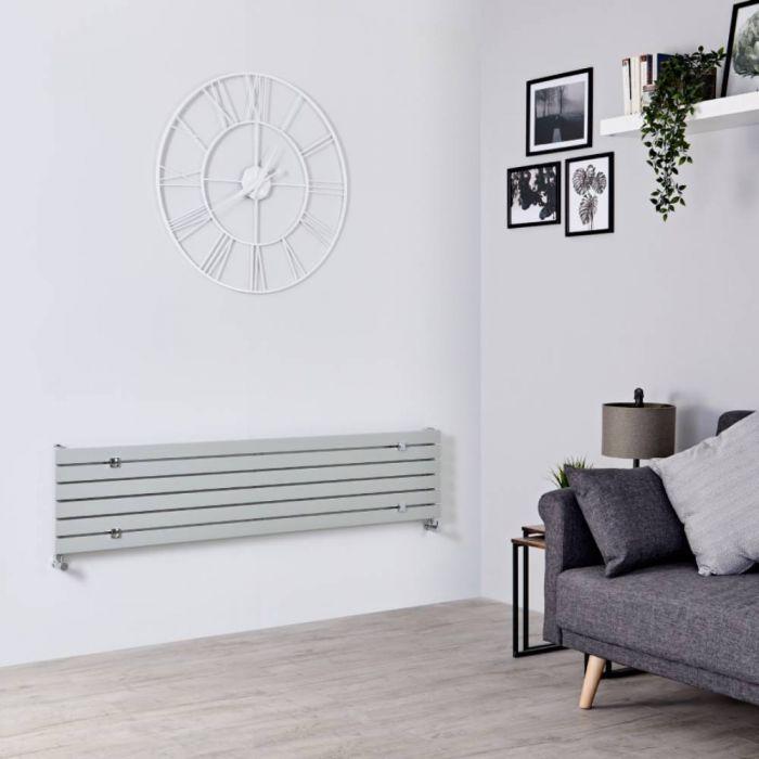 Milano Capri - Silver Flat Panel Horizontal Flat Panel Designer Radiator - 354mm x 1600mm