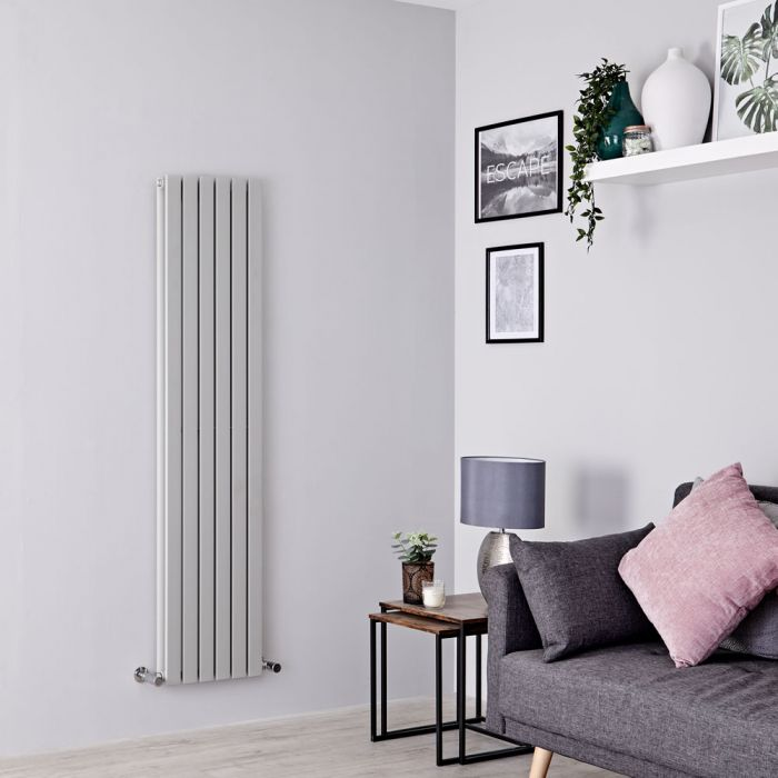Milano Capri - Silver Flat Panel Vertical Designer Radiator - 1600mm x 354mm (Double Panel)