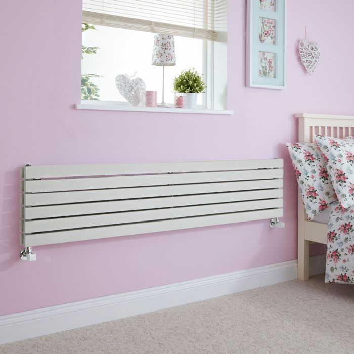 Milano Capri - Silver Flat Panel Horizontal Designer Radiator - 1600mm x 354mm (Double Panel)