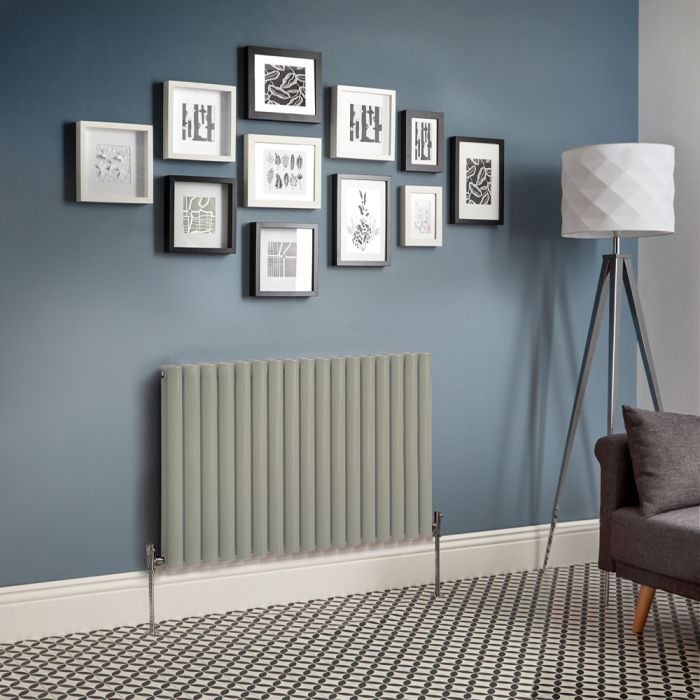 Milano Aruba - Sage Green Horizontal Designer Radiator (Double Panel) - All Sizes