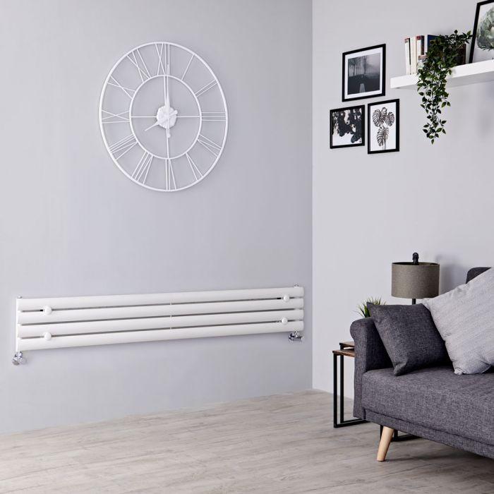 Milano Aruba Slim - White Space-Saving Horizontal Designer Radiator - 236mm x 1600mm