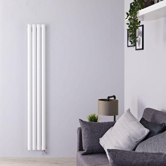 Milano Aruba Slim Electric - White Vertical Designer Radiator - 1600mm x 236mm
