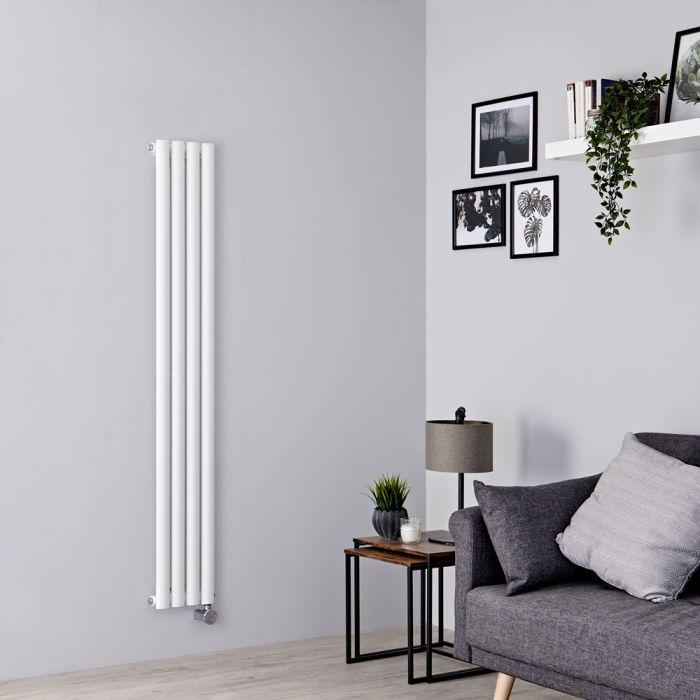 Milano Aruba Slim Electric - White Vertical Designer Radiator - 1600mm x 236mm