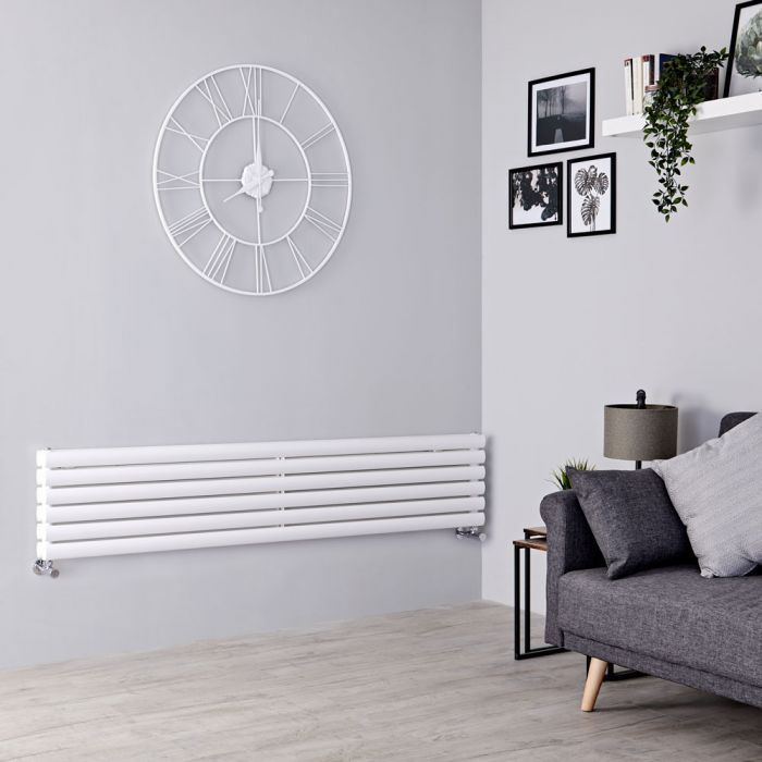 Milano Aruba - White Horizontal Designer Radiator - 354mm x 1600mm (Double Panel)