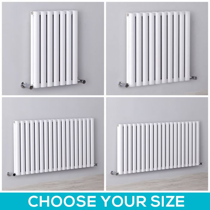 Milano Aruba Ayre - White Horizontal Designer Radiator - 600mm Tall - Choice Of Width