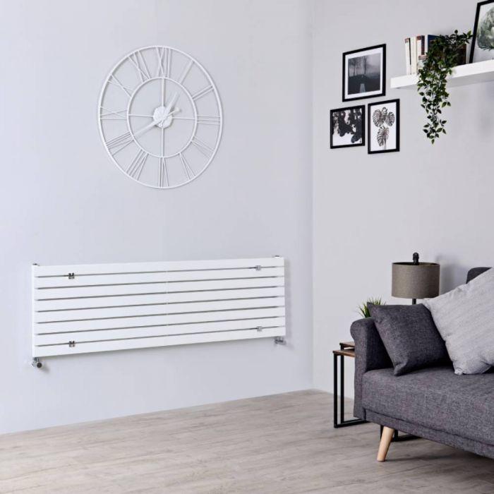 Milano Capri - White Flat Panel Horizontal Designer Radiator - 472mm x 1600mm