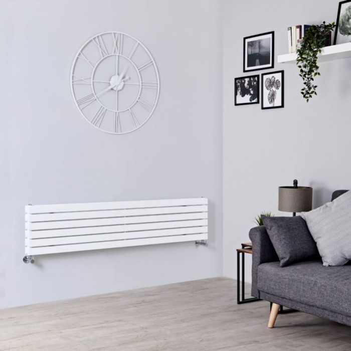 Milano Capri - White Flat Panel Horizontal Designer Radiator - 354mm x 1600mm (Double Panel)