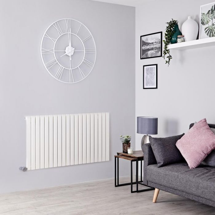 Milano Capri Electric - White Flat Panel Horizontal Designer Radiator - 635mm x 834mm