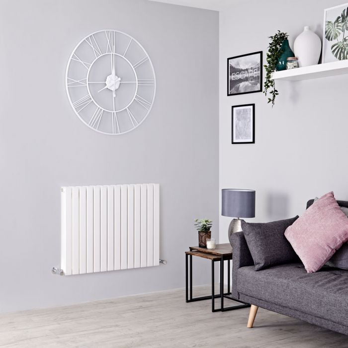 Milano Capri - White Flat Panel Horizontal Designer Radiator - 635mm x 834mm (Double Panel)