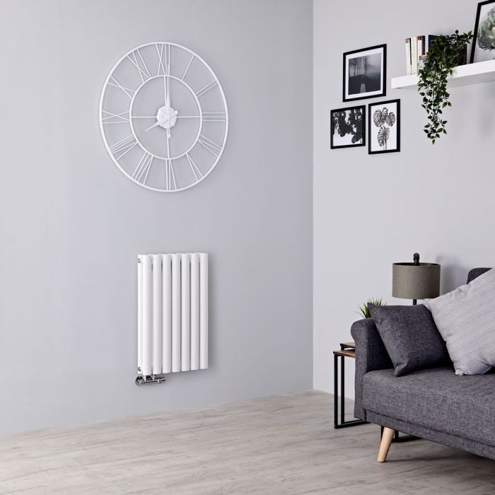 Milano Aruba Flow - White Horizontal Middle Connection Designer Radiator - 635mm x 415mm (Double Panel)