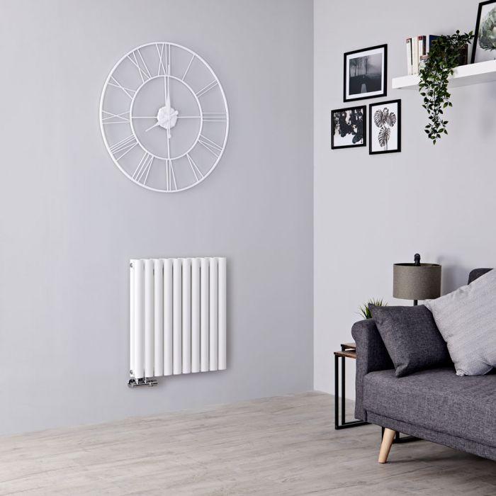 Milano Aruba Flow - White Horizontal Middle Connection Designer Radiator - 635mm x 590mm (Double Panel)