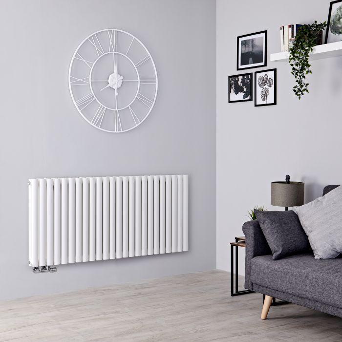Milano Aruba Flow - White Horizontal Middle Connection Designer Radiator - 635mm x 1411mm (Double Panel)