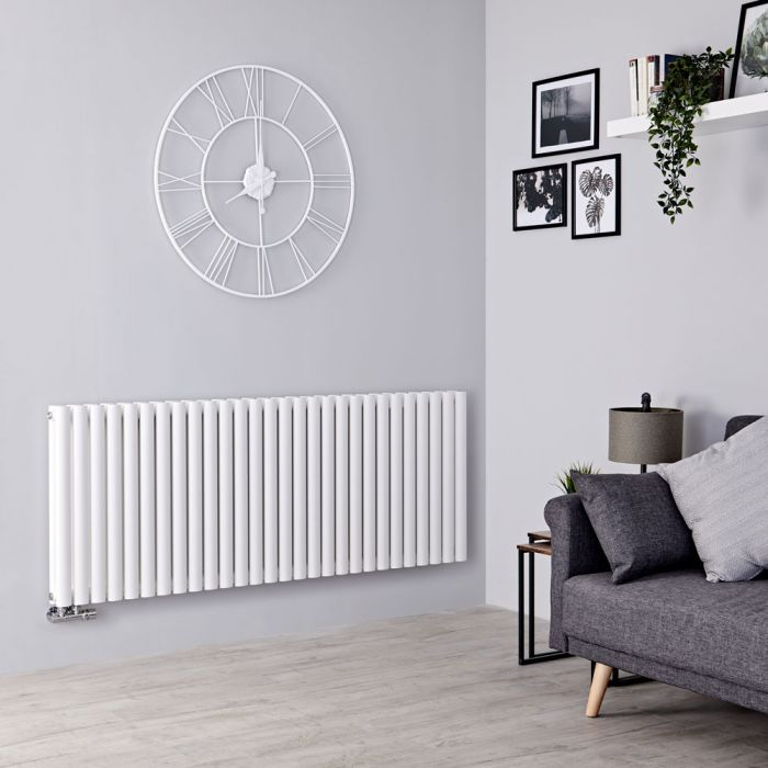 Milano Aruba Flow - White Horizontal Middle Connection Designer Radiator - 635mm x 1647mm (Double Panel)