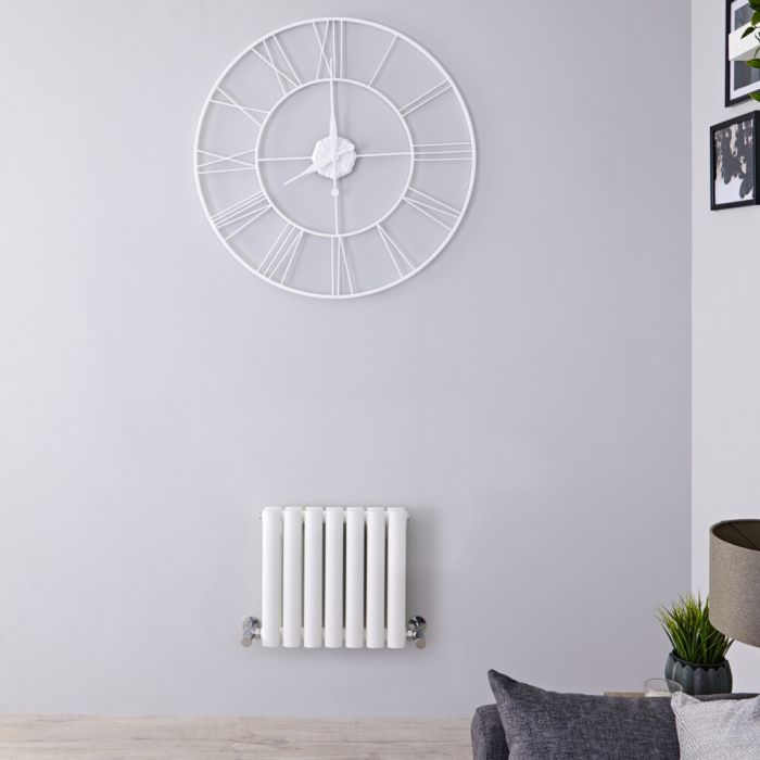 Milano Aruba - White Horizontal Designer Radiator - 400mm x 413mm (Double Panel)