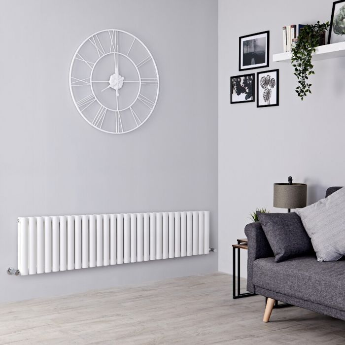 Milano Aruba - White Horizontal Designer Radiator - 400mm x 1647mm (Double Panel)