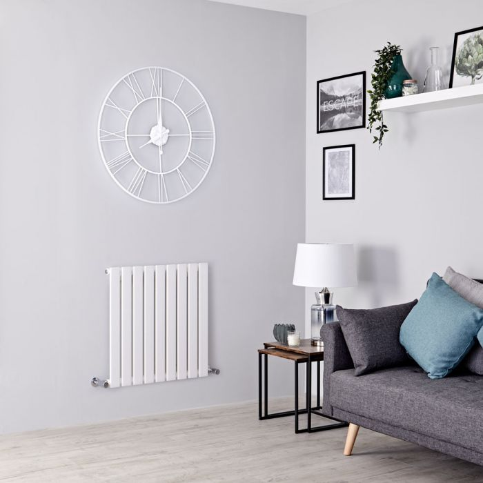 Milano Alpha - White Flat Panel Horizontal Designer Radiator - 635mm x 630mm