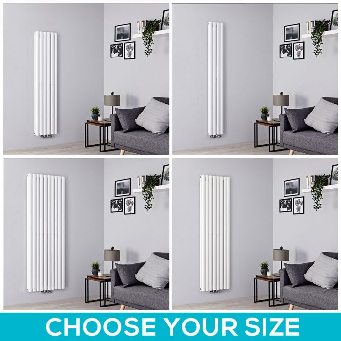 Milano Aruba Flow - White Vertical Middle Connection Designer Radiator - All Sizes