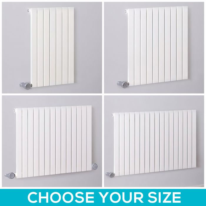 Milano Capri Electric - 635mm White Horizontal Flat Panel Designer Radiator - All Sizes