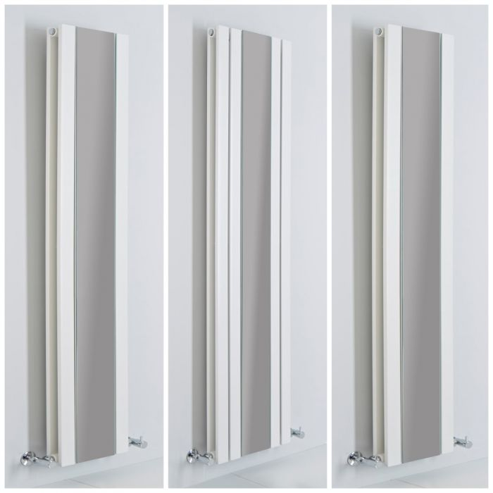 Milano Icon - White Vertical Designer Radiator with Mirror - All Sizes