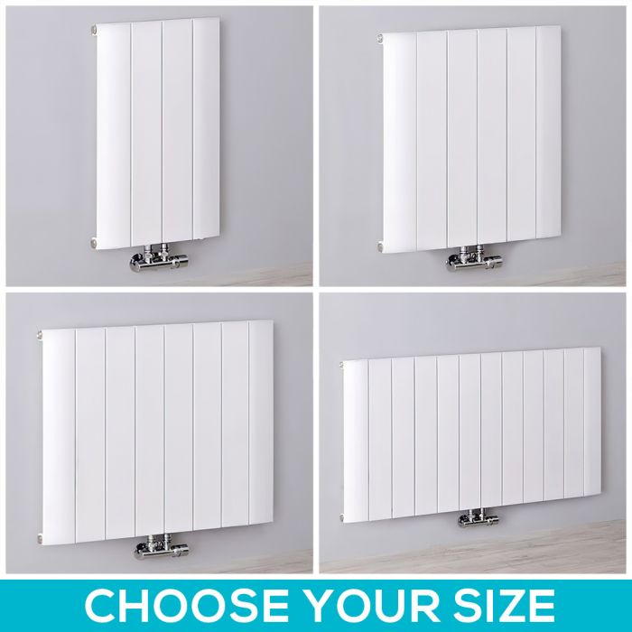 Milano Skye - 600mm White Aluminium Horizontal Designer Radiator - All Sizes