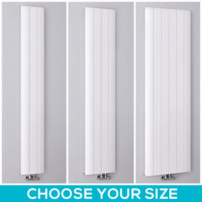 Milano Skye - White Aluminium Vertical Designer Radiator - All Sizes