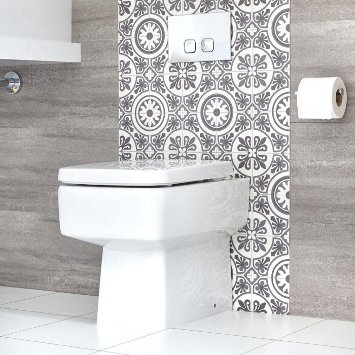 Milano Farington - Modern Square Back to Wall Toilet with Soft Close Seat