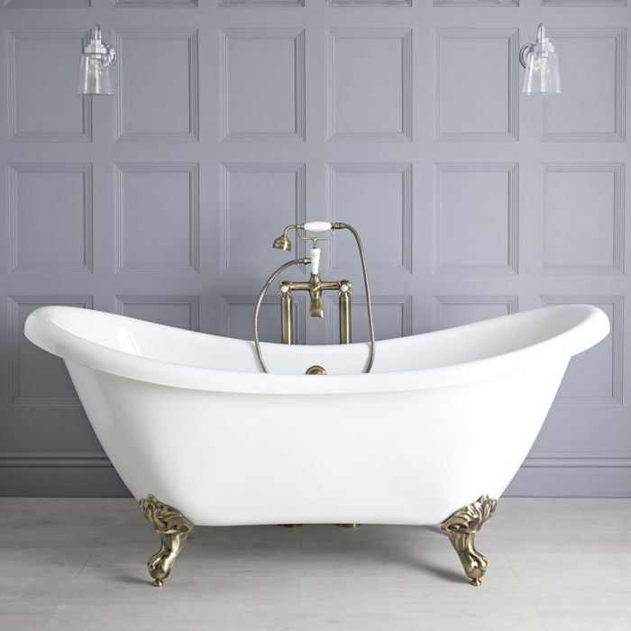 Milano Legend - White Traditional Double-Ended Freestanding Slipper Bath with Brushed Gold Feet - 1750mm x 730mm