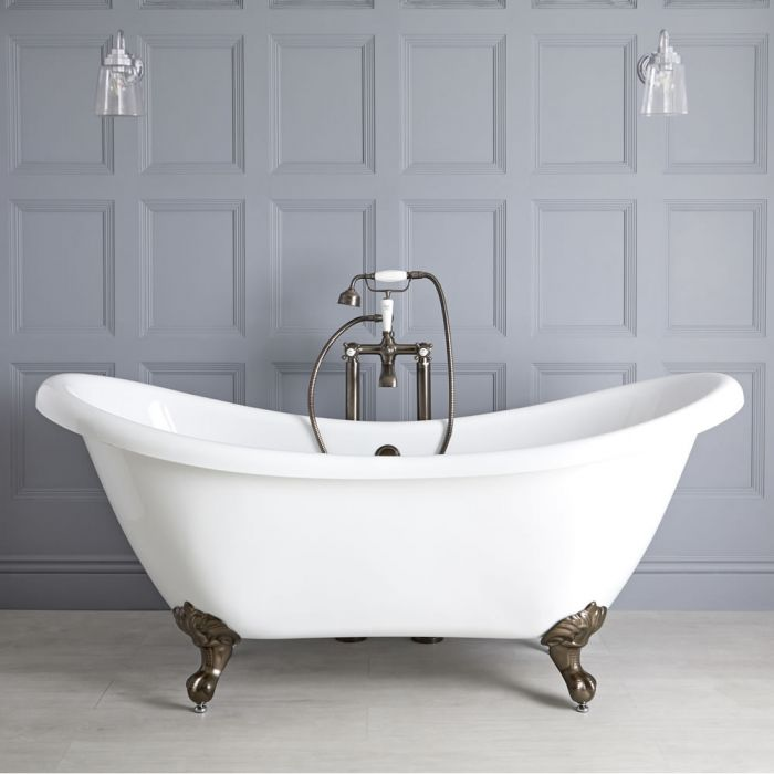 Milano Legend - White Traditional Double-Ended Freestanding Slipper Bath with Oil Rubbed Bronze Feet - 1750mm x 730mm