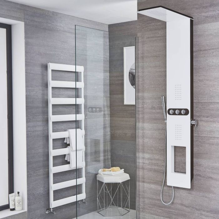 Milano Hale - Modern Exposed Thermostatic Shower Tower Panel with Shelf, Large Shower Head, Hand Shower and Body Jets - White
