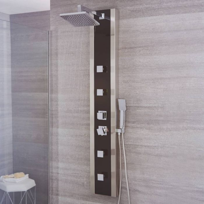 Milano Howe - Modern Exposed Thermostatic Shower Tower Panel with Large Shower Head, Hand Shower and Body Jets - Black