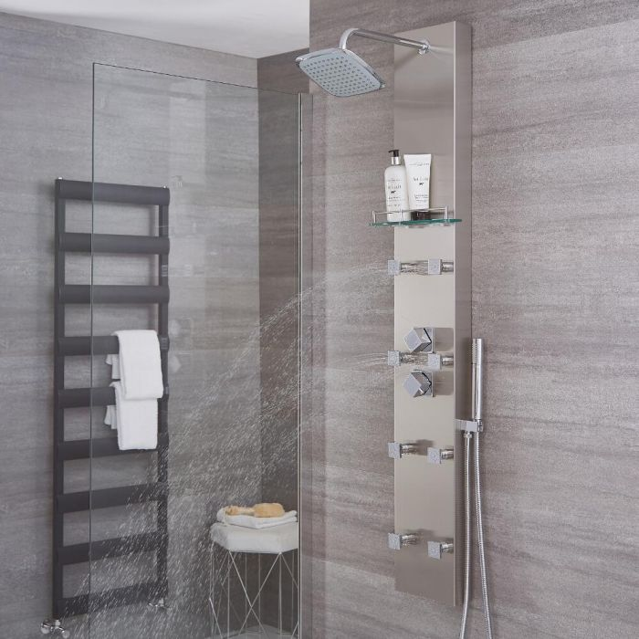 Milano Hurst - Modern Exposed Thermostatic Shower Tower Panel with Shelf, Large Shower Head, Hand Shower and Body Jets - Brushed Steel