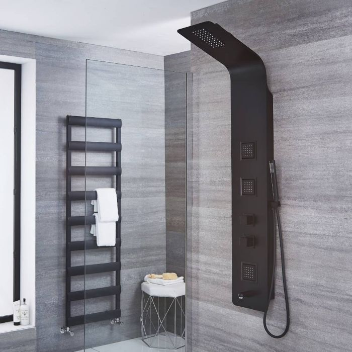 Milano Nero - Modern Thermostatic Shower Tower Panel with Shower Head, Hand Shower, Body Jets and Bath Spout - Black