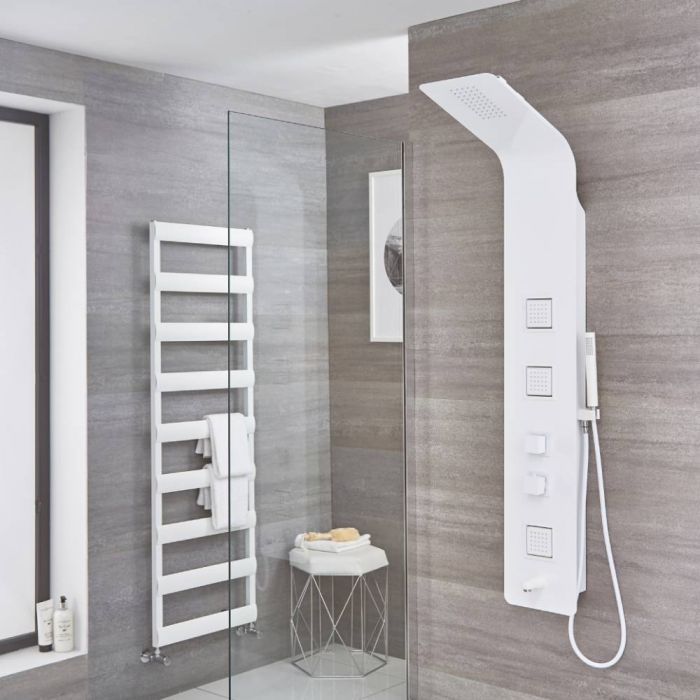 Milano Upton - Modern Exposed Thermostatic Shower Tower Panel with Large Shower Head, Hand Shower and Body Jets - White