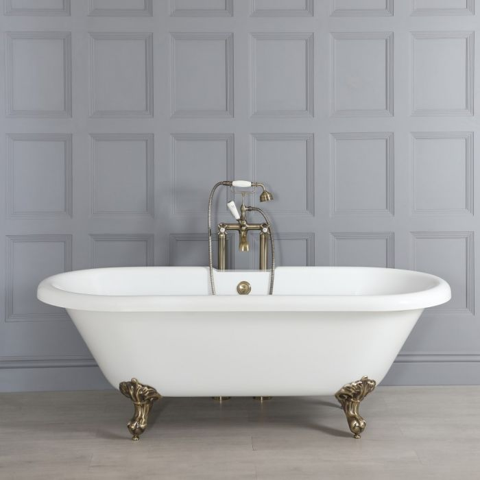 Milano Legend - White Traditional Roll Top Freestanding Bath with Brushed Gold Feet - 1795mm x 785mm