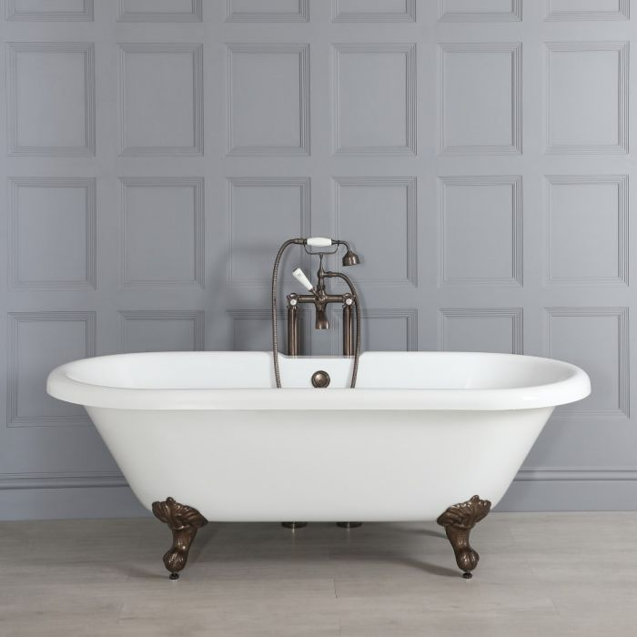 Milano Legend - White Traditional Roll Top Freestanding Bath with Oil Rubbed Bronze Feet - 1795mm x 785mm
