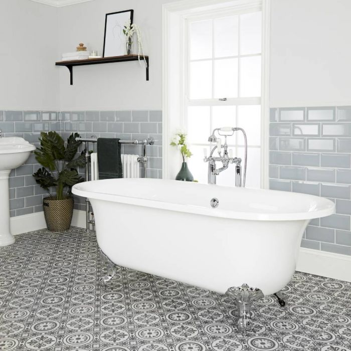 Milano Richmond - White Traditional Freestanding Bath with Choice of Feet - 1730mm x 780mm (No Tap-Holes)