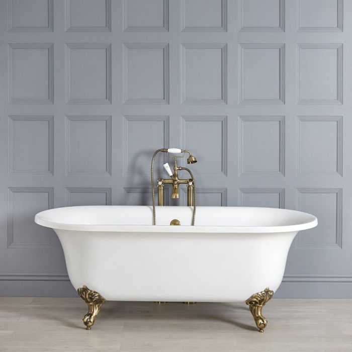 Milano Richmond - White Traditional Freestanding Bath with Brushed Gold Feet - 1730mm x 780mm (No Tap-Holes)