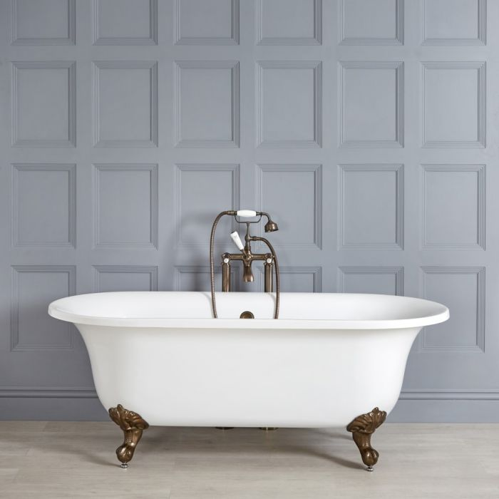 Milano Richmond - White Traditional Freestanding Bath with Oil Rubbed Bronze Feet - 1730mm x 780mm (No Tap-Holes)
