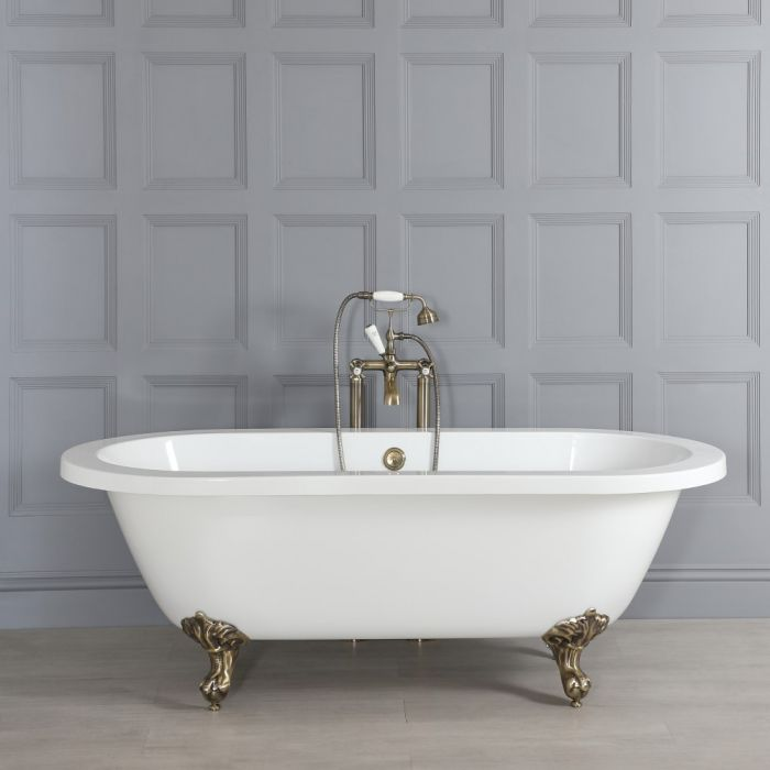 Milano Legend - Double-Ended Roll Top Freestanding Bath with Brushed Gold Feet - 1780mm x 825mm