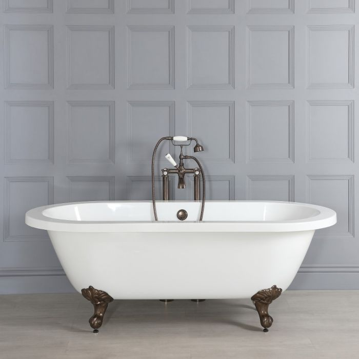 Milano Legend - Double-Ended Roll Top Freestanding Bath with Oil Rubbed Bronze Feet - 1780mm x 825mm