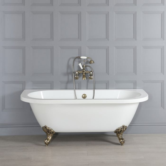 Milano Richmond - White Traditional Back to Wall Freestanding Bath with Brushed Gold Feet - 1685mm x 780mm