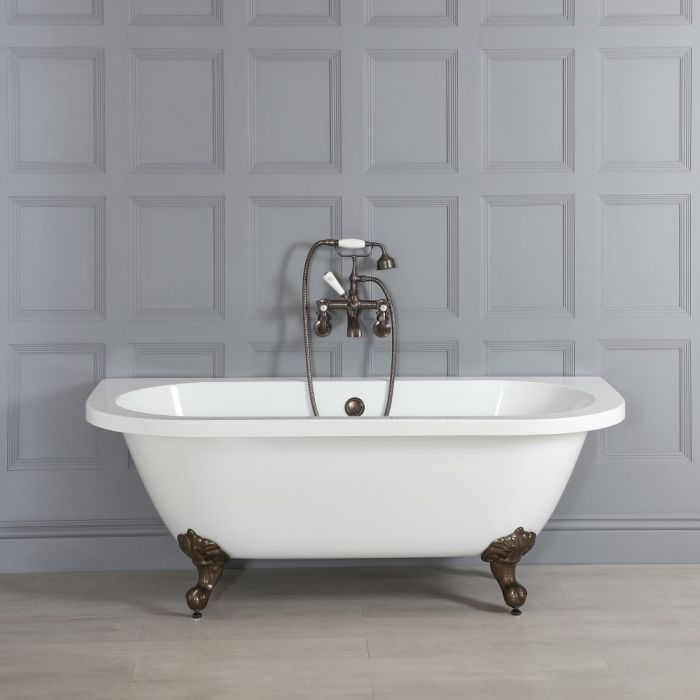 Milano Richmond - White Traditional Back to Wall Freestanding Bath with Oil Rubbed Bronze Feet - 1685mm x 780mm